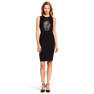 Adrianna Papell faux leather bodycon black